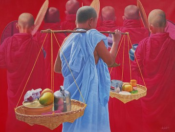 Aung-Kyaw-Htet-With-Offered-Food-2014-59x79-Oil-1