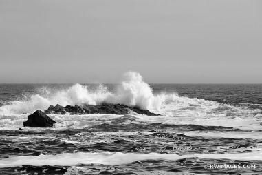 ATLANTIC OCEAN WAVES CAPE NEDDICK MAINE ROCKY COAST BLACK AND WH