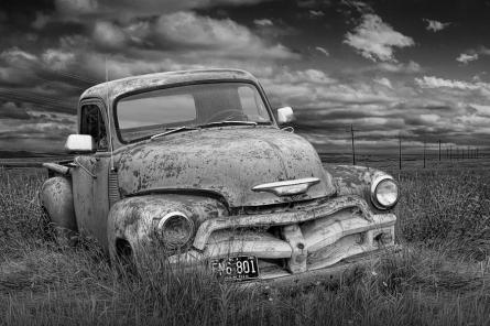 black-and-white-abandoned-chevy-pickup-truck-randall-nyhof