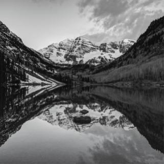 black-and-white-maroon-bells-colorado-mountains-reflections-gregory-ballos