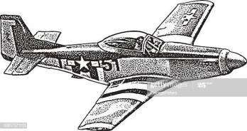 Pen and Ink style illustration of a P-51 Mustang Fighter Plane. Isolated on white.
