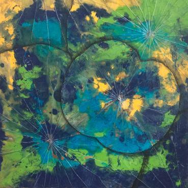 lotus-leaf-yellow-green-blue-amoroqie-art