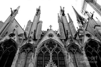 paris-notre-dame-cathedral-gothic-black-and-white-gargoyles-and-architecture-kathy-fornal