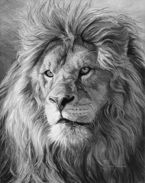 portrait-of-a-lion-black-and-white-lucie-bilodeau