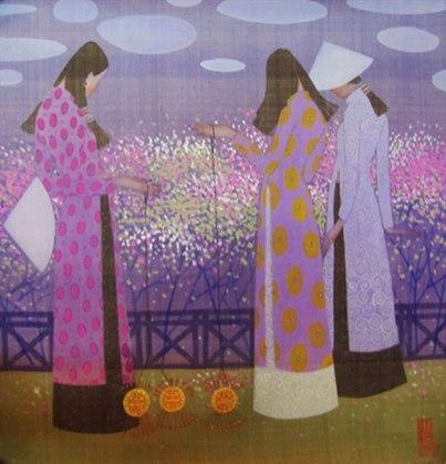 Spring-garden-2-Water-color-on-silk-painting-by-Vietnamese-Artist-Vu-Tuan