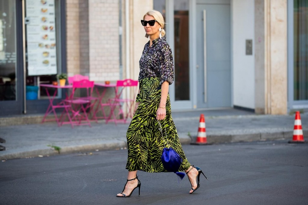 Ganni skirt and blouse worn during Berlin Fashion Week