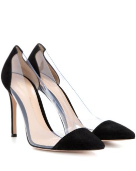GIANVITO ROSSI Plexi Pumps aus Veloursleder black