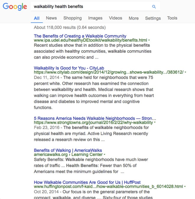 walkability and health search results show the pervasive linking of the two