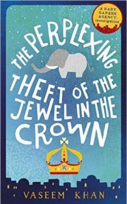 book jacket elephant and crown graphic for Indian detective mystery fiction story