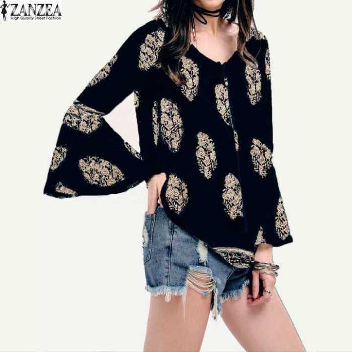 ZANZEA S-5XL Womens Ladies Floral Print V-Neck Shirt Boho
