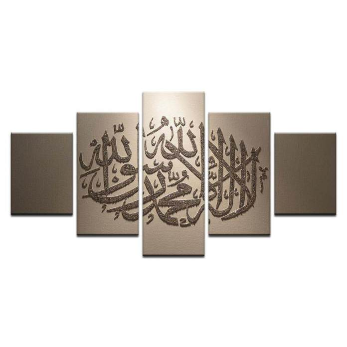 FS 8x14inX2 8x18inX2 8x22inX1 5 Pcs Lukisan Kanvas Cetak Muslim Islam Arab Bismillah Kaligrafi Quran Poster Agama Lukisan Dinding untuk Ruang Keluarga (Tanpa Bingkai)