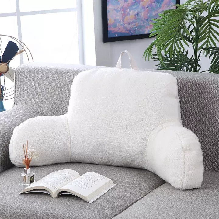 bed rest backrest pillow with arms reading plush lumbar support home office
