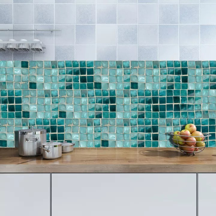 fityle 500x20cm modern mosaic tiles wall paper stickers for kitchen bathroom decor waterproof pvc tile stickers wall stickers kitchen waist line diy