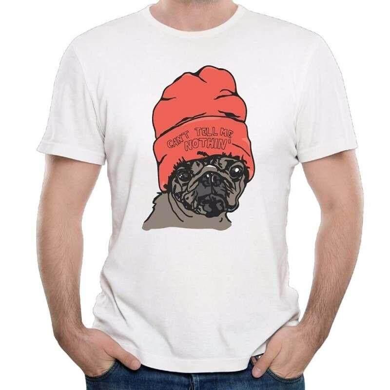 T Shirt Ide Pria Lengan Pendek Cetak Mesin CREW NECK Pria Pug Preman Tidak Bisa Beritahu Saya Tidak Ada Desain Kaos T Shirt