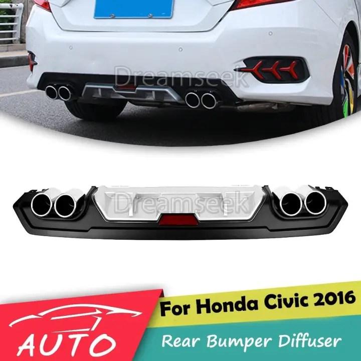 for 2016 2017 2018 honda civic rear bumper diffuser jdm racing dual exhaust tip