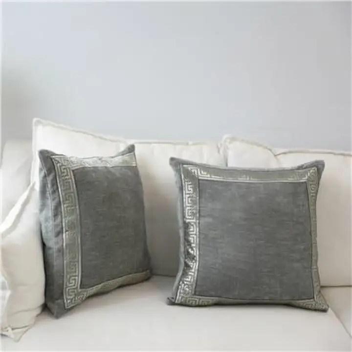 soft velvet grey cushion cover home decor blue embroidered pillow case sofa decorative pillows 45 45 60 60cm throw pillow cover