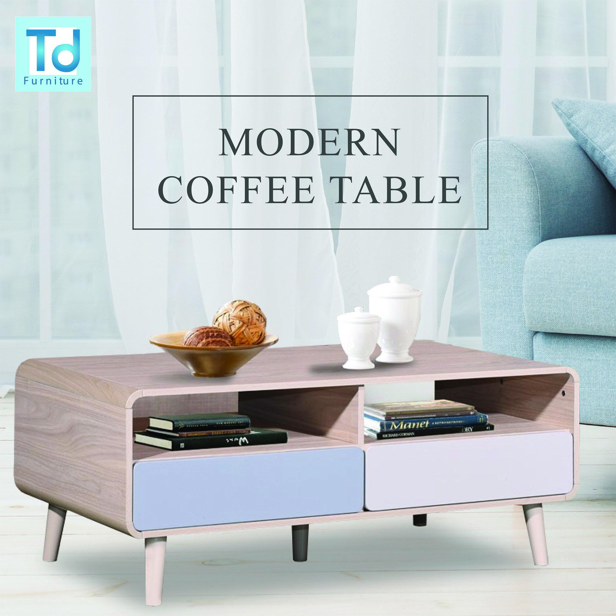 nova modern coffee table melamine coffee table light blue model design with 4 drawer