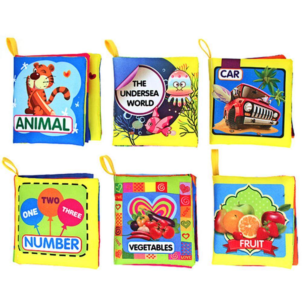6 PCS Baby Mini Early Educational Color Soft Fabric Cloth Book Car Animal Undersea Number Fruit Vegetable Theme Book for 0-3 Years Old Kids - intl