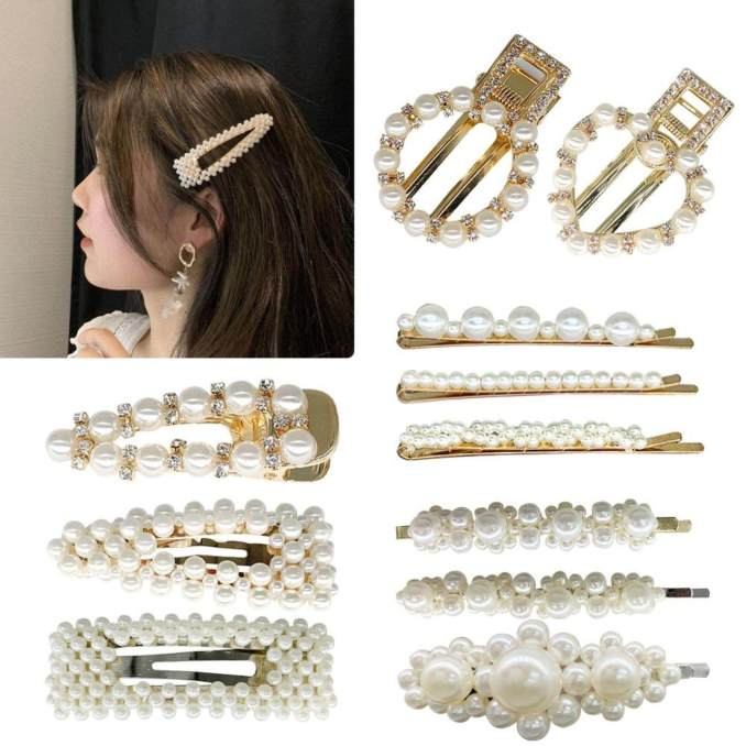 5pcs pearl jewelry hairpins hair accessory clip creative fashion pearl decor hair pin for women and girls