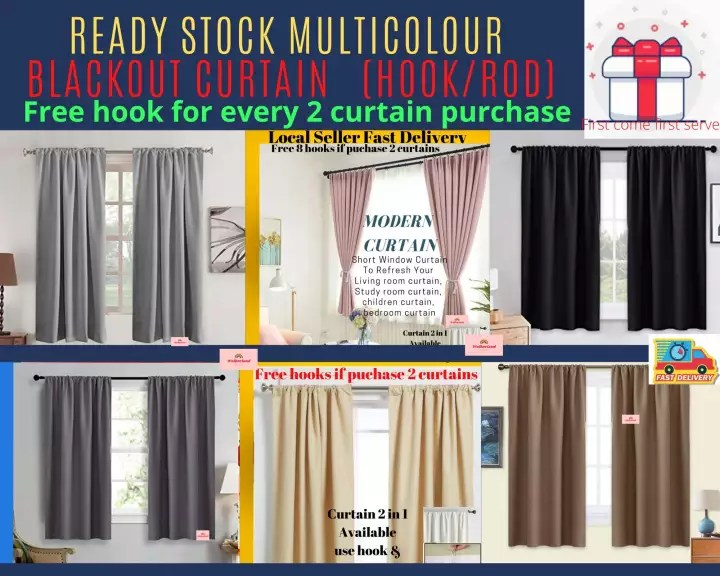 ready stock 1pcs stunning modern curtain designs 100x145cm 50 60 blackout short window curtain to refresh your living room curtain study room