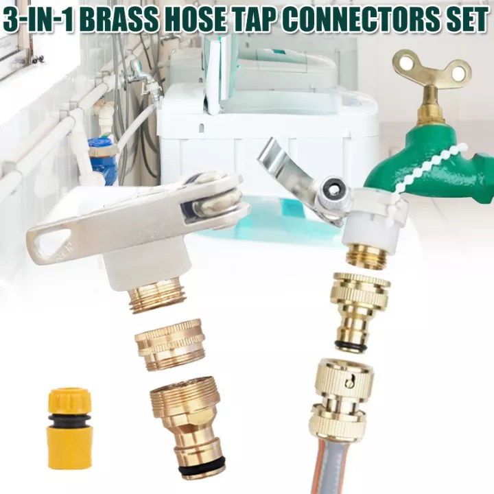 universal 3 in 1 brass hose tap connectors set vintage faucet adapter washing machine quick connector