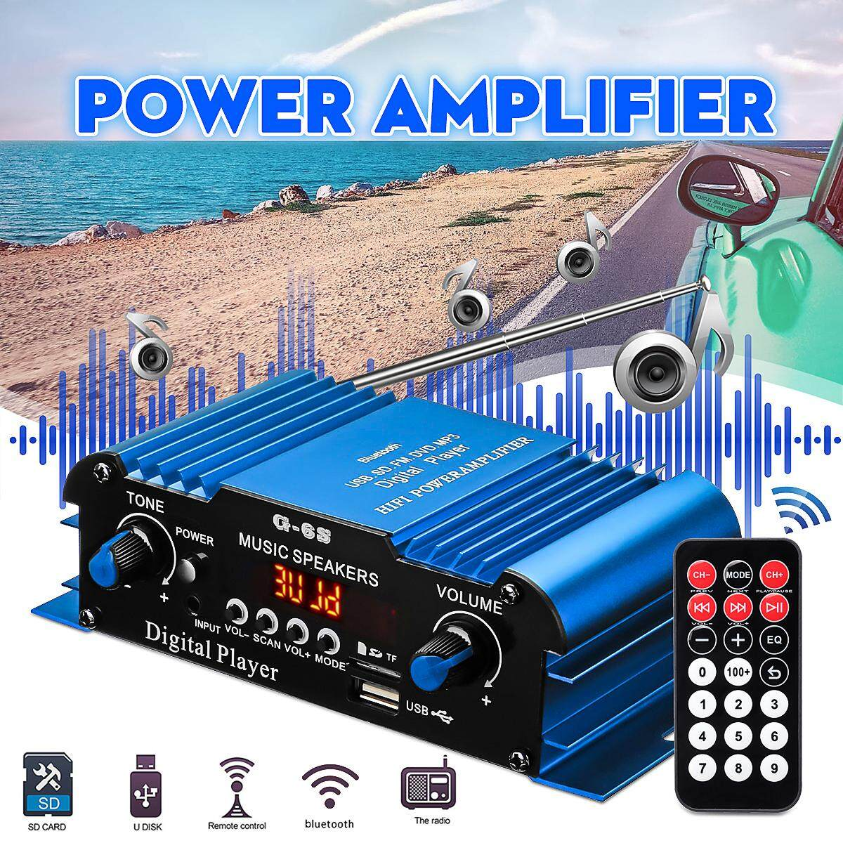 DC 12 V 30 W 2CH Bluetooth Penguat Daya Mini Pengendali Jarak Jauh HI FI Digital Power Stereo Audio Bass SD AUX FM RMS Mobil Rumah -Biru
