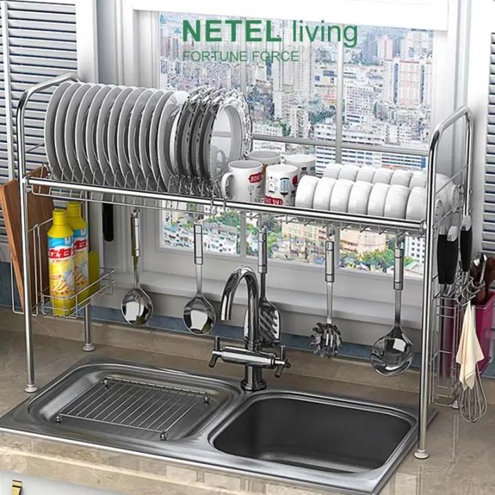 netel stainless steel sink shelf rack kitchen drain rack dish storage rack sink drain basket kitchen supplies storage rack