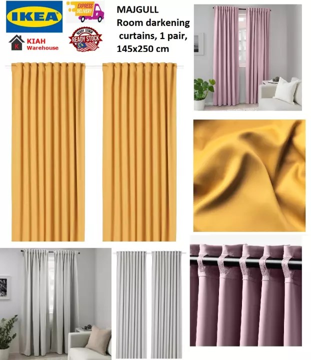 majgull curtain langsir sliding door room darkening curtains 1 pair 145x250 cm curtains ikea ready stock malaysia