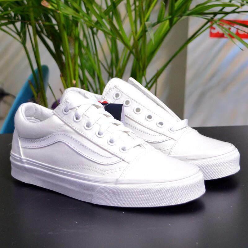 Stok Tersedia Asli VANS Sepatu Kanvas Pria Sepatu Kets Wanita-Putih Ukuran   36 8468d24ffd