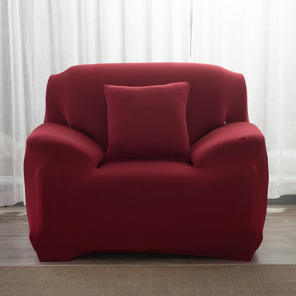 Deep Red Sofa Cover 1 2 3 4 Seater Stretchable Full Couch Cover Removable Slipcover Sofa Seat Protector Home Living Room Decoration Ready Stock Lazada Singapore