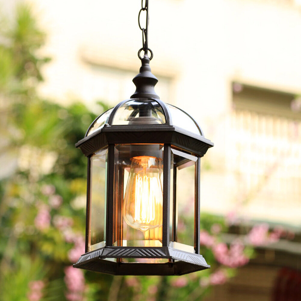 outdoor pendant lights 1 light porch exterior hanging lantern patio lighting lamp fixture black finish with clear glass