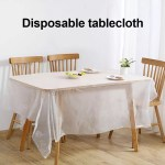 Rego 200x200cm Pe Disposable Tablecloths Waterproof And Oil Proof Disposable Pvc Plastic Table Cover Thicken Dining Table Cover Cloth For Living Room Hotel Restaurant Lazada