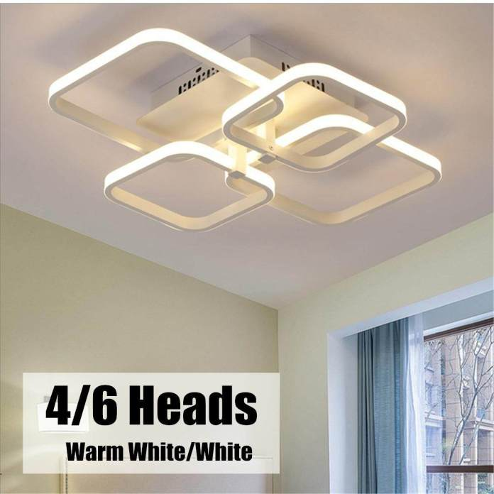 Persegi Panjang Acrylic Aluminium LED Langit-langit Modern Lampu untuk Ruang Keluarga Kamar Tidur #4 Kepala