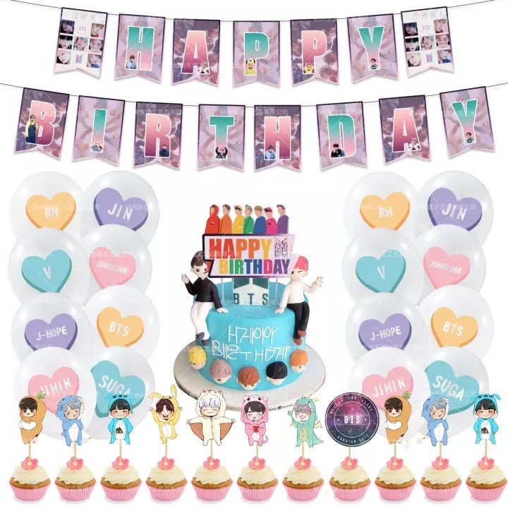available toystoryshop 44pcs set bts theme balloon for happy birthday bts party decoration balloons set with banner flag cake topper cards birthday