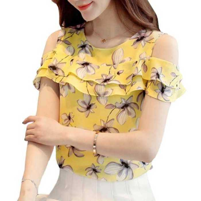 Summer Tops Female Fashion Cold Shoulder Tops Ruffles