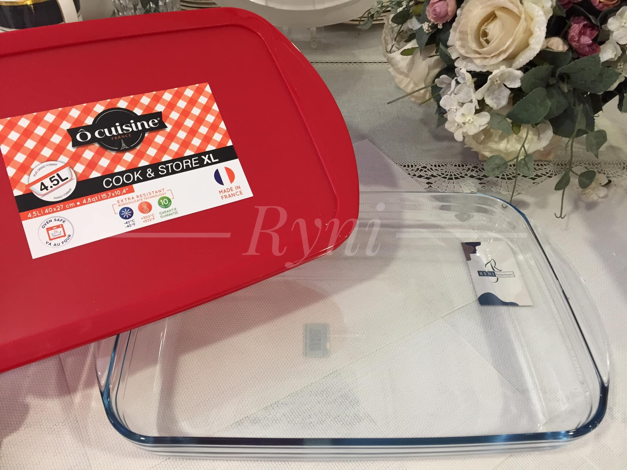 o cuisine made in france 4 5l rectangular roaster with plastic cover 40cm x 27cm