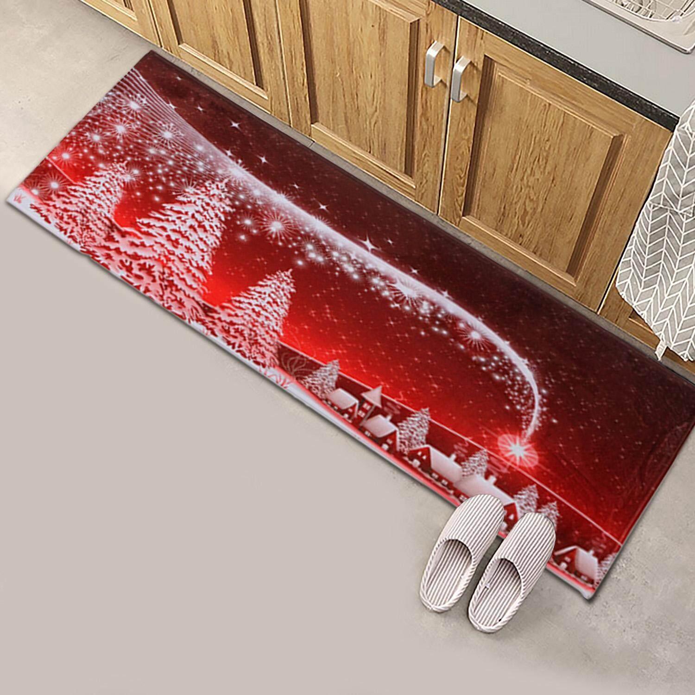40 X 120cm Non Slip Coral Fleece Doormat Safety Floor Door Mat Pad Rug Carpet For Home Kitchen Room Christmas Decorations