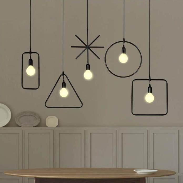 【Free Shipping】led Lampu Celling Geometris Gaya Industri Liontin Lampu untuk Restoran Toko Ruang Tamu Bar