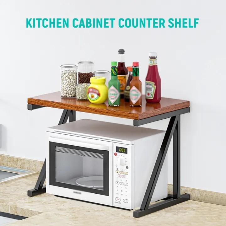 2 tier microwave stand wooden microwave oven rack shelf kitchen counter storage organizer tableware space saver