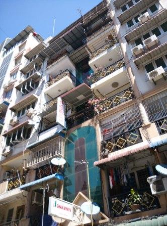 Outside of chan myaye guesthouse yangon