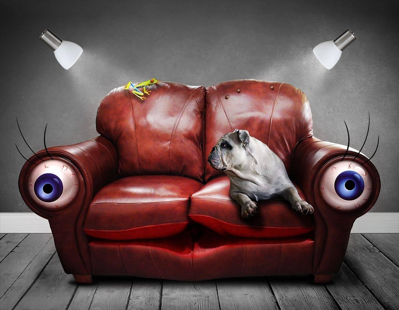 Бенгальскими огнями, рисунок смешной дивана