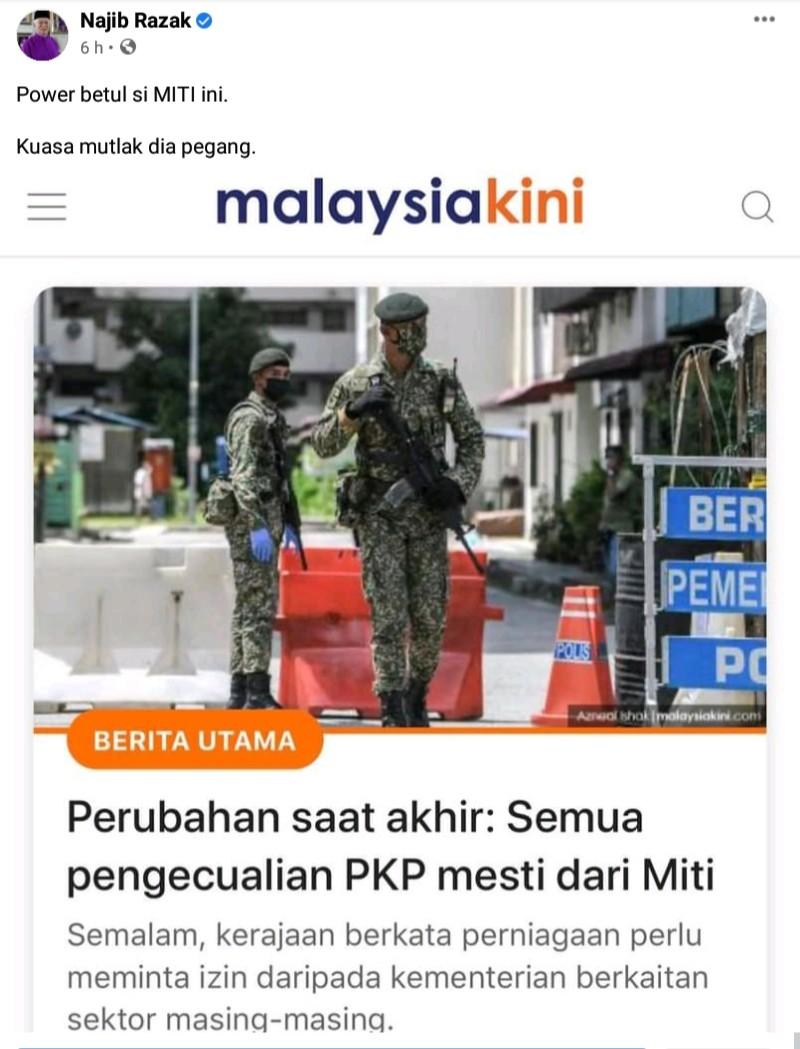 Najib Razak Perli MITI