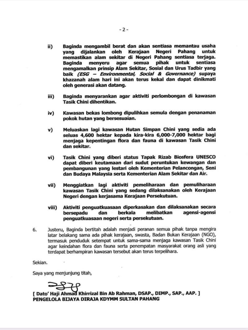 Tasik Chini, Menjungjung Titah Tengku Mahkota Pahang