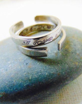 Anniversary ring, adjustable Customized his&hers ring, Date Ring, Personalized Message ring, stamped Love Gift, Skinny Stackable ring.
