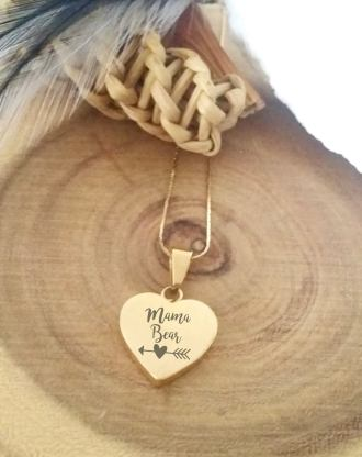 Custom heart necklace, mothers day jewelry gift engraved heart jewelry, gold heart pendant, custom handwriting necklace for mom, mama bear.