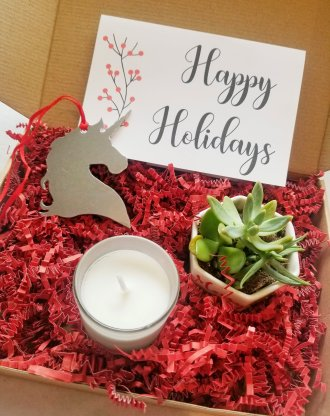 Happy Holidays gift basket, Send a gift box, Merry Xmas set, live succulent, pre filled gift box, personalized package, Christmas gift set.