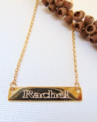16K Gold Bar Necklace, Personalized Bridesmaid necklace, engraved Nameplate, custom name pendant, Horizontal stamped necklace, Gift for her.