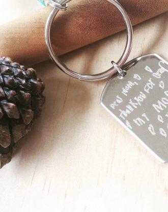 Handwriting keychain, Personalized Engraved keychain, signature keychain, gift for him/her, actual handwritten jewelry, child drawing.