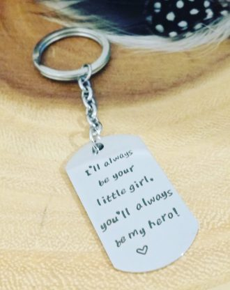 Mothers day gift, Engraved message key chain, silver words charm, key holder plate, gift for mom or dad under 15. ready to ship. MY HERO
