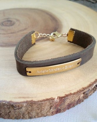 Mothers day gift, Leather cuff bracelet, engraved name plate bracelet, personalized jewelry, Gold/Rose gold/ silver bar bracelet, kids names